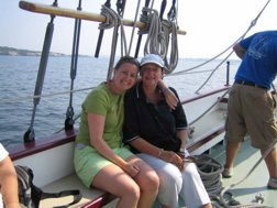 Maaike and her Mother enjoying a sail in Newport