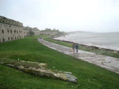 Walking along the sea at Fort Adams, Newport, RI