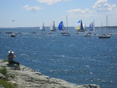 Yacht racing in Narragansett Bay, Newport, RI