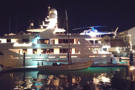 Yacht with helicopter, Newport, RI